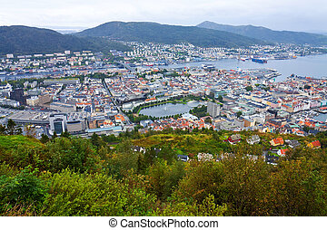 Wide panorama of Bergen, Norway