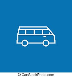 Minibus line icon. - Minibus thick line icon with pointed...