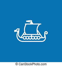 Old ship line icon - Old ship thick line icon with pointed...