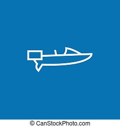 Motorboat line icon - Motorboat thick line icon with pointed...