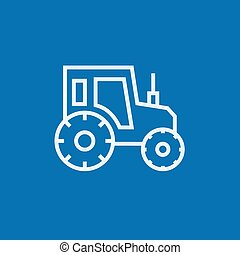 Tractor line icon - Tractor thick line icon with pointed...