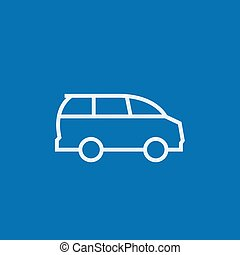 Minivan line icon. - Minivan thick line icon with pointed...