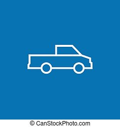 Pick up truck line icon. - Pick up truck thick line icon...