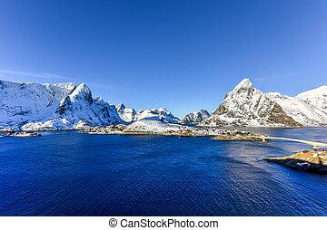Reine, Lofoten Islands, Norway - Winter in Olenilsoya in...