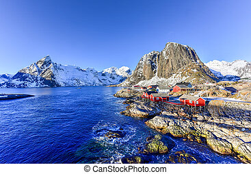 Hamnoy - Lofoten Island, Norway - Fishing hut (rorbu) in the...