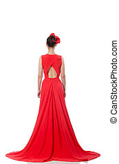 Pretty caucasian model in red long evening dress isolated on...