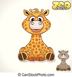 Cartoon Giraffe Vector Character - Cute Cartoon African...