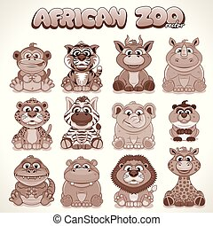 Cute Cartoon Animals. Set of Vector Characters