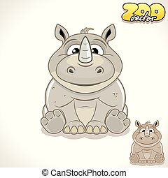 Cartoon Rhino. Vector Character - Cute Cartoon Thick Skinned...