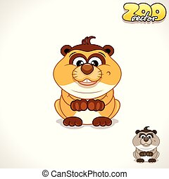 Cartoon Meerkat. Vector Character - Cute Cartoon Playful...