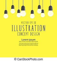 Many bulbs for decor or celebration flat vector. -...