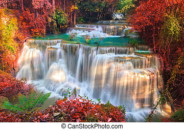 Huai Mae Khamin Waterfall - Waterfalls In Deep Forest at...