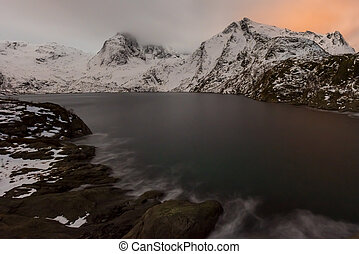 Reine, Lofoten Islands, Norway - Winter time in Djupfjorden...