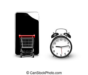 3D alarm clock with shopping cart entering smartphone screen...