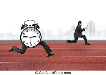 Alarm clock of running legs running after man holding...