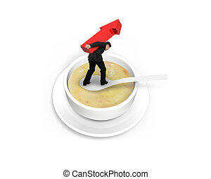 Man carrying arrow up balancing on spoon in the soup