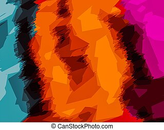 blue orange yellow pink abstract