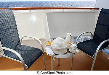 Breakfast on a cruise ship balcony