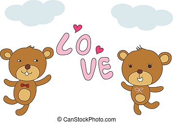couple bear happy with love and pin