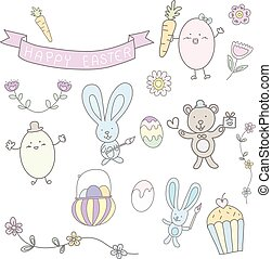 happy easter hand drawn cute pastel