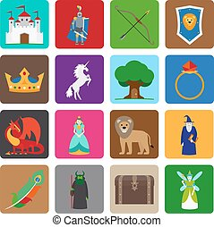 Fairy tale flat icons. Fairytale game colorful symbols....