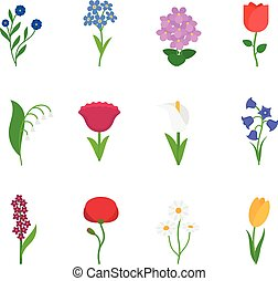 Spring flowers icons - Spring flowers Fun and cute vector...