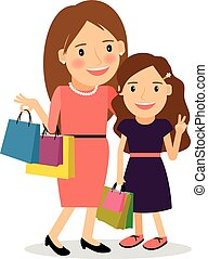 Mom and daughter shopping day