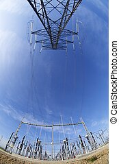 energy - High tension electrical tower and high-voltage...