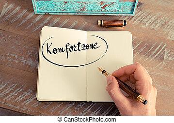 """Handwritten text in German """"Komfortzone """" -..."""