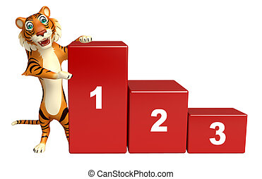 cute Tiger cartoon character with 123 level sign