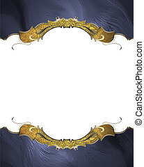 Blue frame with gold pattern. Template for design. copy...