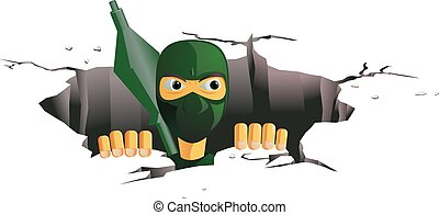 Terrorist coming out of the tunnel - Vector illustration of...