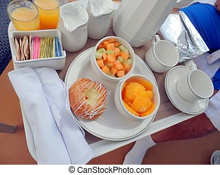 Cruise ship balcony breakfast