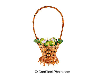 Woven basket of Easter eggs