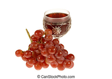 Glass of wine and grapes - Glass of Red Wine and Bunch of...