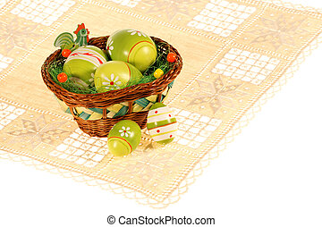 Basket of Easter eggs on the placemat