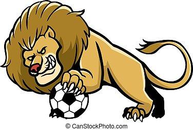 Lion Soccer Mascot - Vector illustration of lion soccer...