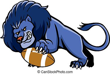 Lion Football Mascot - Vector illustration of lion football...