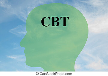 CBT mentality concept - Render illustration of CBT script on...