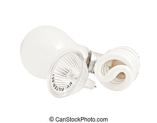 Set Of Various Bulbs On A White Background