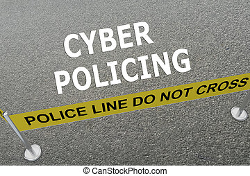 Cyber Policing concept - 3D illustration of CYBER POLICING...