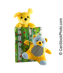 Toys in a gift package on a white background