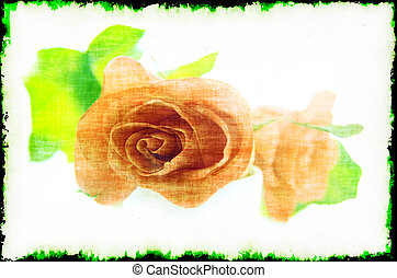 Purple rose in a retro style on a light background