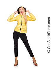 Caucasian woman in yellow jacket isolated on white