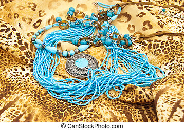 Jewellery from turquoise: medallion,necklace,beads