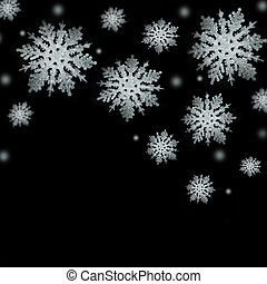 Gentle silver snowflakes on a black background