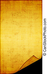 The sample of the old, turned yellow paper in stains