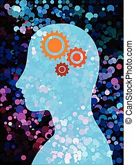 Blue human with mechanism and colorful bubble background