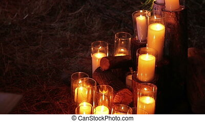 Decoration of the candles in glasses