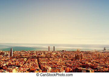 Barcelona, a bird view over city Catalonia, Spain